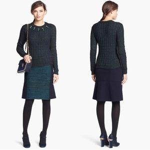 Tory Burch Wool Keegan Green Blue Pencil Skirt